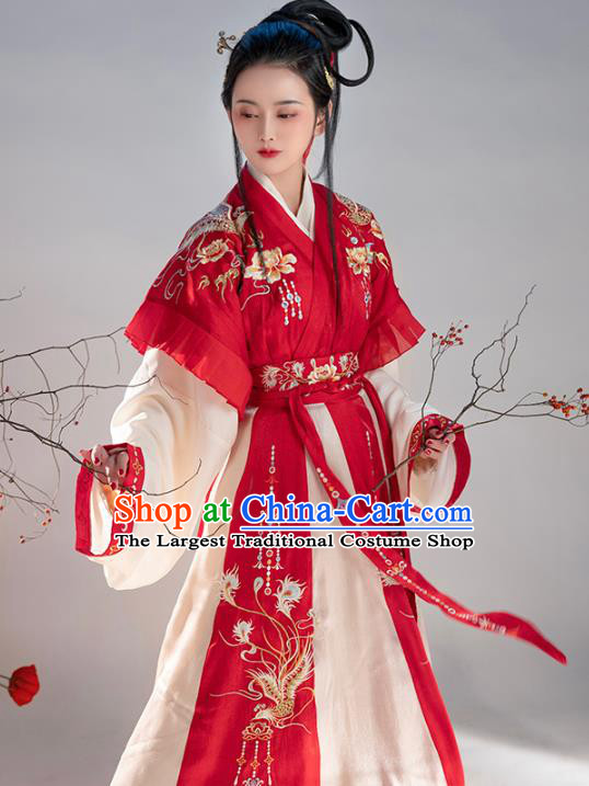 Chinese Traditional Jin Dynasty Royal Princess Embroidered Hanfu Dress Apparels Ancient Goddess Historical Costumes Complete Set for Women