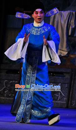 Shi Zou Yan Song Chinese Guangdong Opera Xiaosheng Apparels Costumes and Headwear Traditional Cantonese Opera Young Male Garment Scholar Li Shuyun Clothing