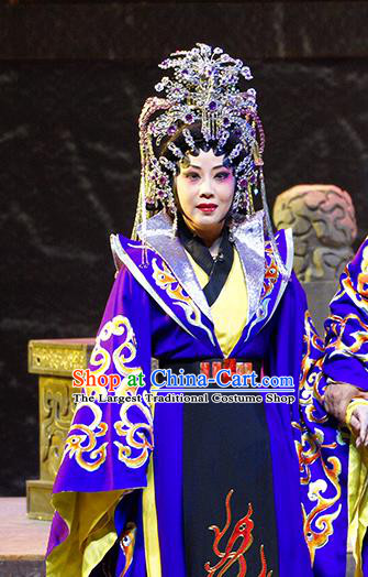 Chinese Cantonese Opera Rani Garment Nan Yue Gong Ci Costumes and Headdress Traditional Guangdong Opera Noble Dame Apparels Queen Dress