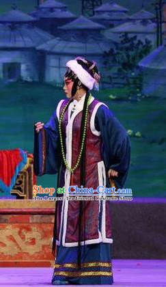 Chinese Cantonese Opera Mistress Garment Shuang Qiang Lu Wenlong Costumes and Headdress Traditional Guangdong Opera Actress Apparels Dame Dress