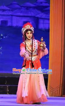 Chinese Cantonese Opera Princess Garment Shuang Qiang Lu Wenlong Costumes and Headdress Traditional Guangdong Opera Hua Tan Apparels Young Beauty Dress