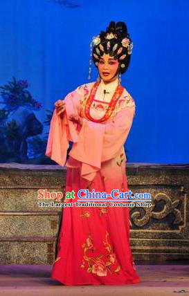 Chinese Cantonese Opera Hua Tan Garment Unhappy Marriage Costumes and Headdress Traditional Guangdong Opera Actress Apparels Diva Dress
