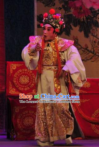 Unhappy Marriage Chinese Guangdong Opera Bully Apparels Costumes and Headwear Traditional Cantonese Opera Wusheng Garment Martial Male Clothing