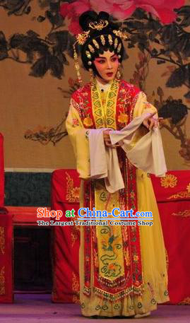 Chinese Cantonese Opera Young Beauty Garment Unhappy Marriage Costumes and Headdress Traditional Guangdong Opera Actress Apparels Hua Tan Dress