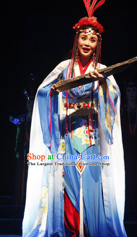 Chinese Historical Drama Princess Hu Die Ancient Ethnic Girl Garment Young Lady Costumes Traditional Dance Dress Apparels and Headdress