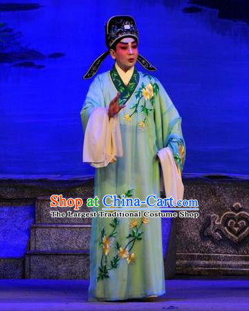 Unhappy Marriage Chinese Guangdong Opera Young Man Apparels Costumes and Headwear Traditional Cantonese Opera Niche Garment Xiaosheng Clothing