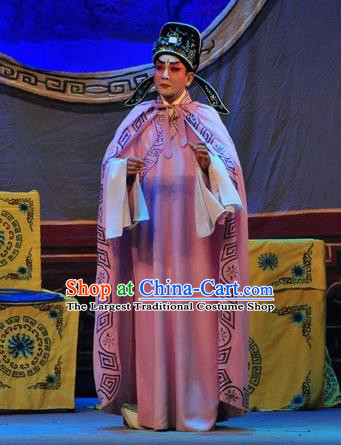 Unhappy Marriage Chinese Guangdong Opera Scholar Apparels Costumes and Headwear Traditional Cantonese Opera Niche Garment Young Man Clothing