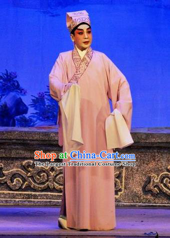Da Nao Mei Zhi Fu Chinese Guangdong Opera Scholar Xiao Yonglun Apparels Costumes and Headwear Traditional Cantonese Opera Xiaosheng Garment Young Man Clothing
