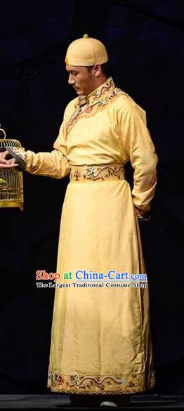 Chinese Traditional Qing Dynasty Emperor Apparels Costumes Historical Drama Da Qing Xiang Guo Ancient Monarch Kangxi Garment Clothing and Headwear