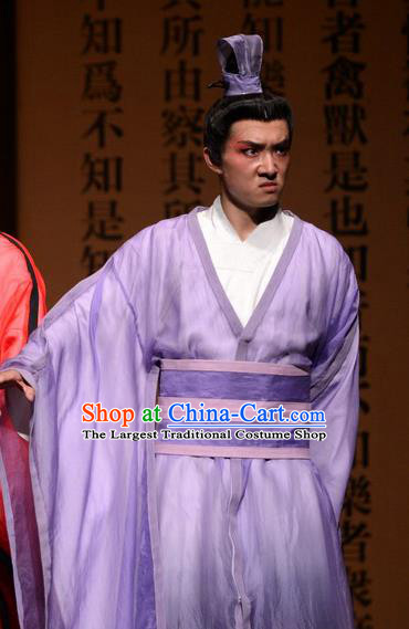 Chinese Traditional Spring and Autumn Period Scholar Apparels Costumes Historical Drama Confucius Said Ancient Gifted Youth Garment Purple Clothing and Headwear