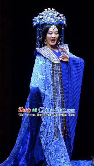 Chinese Historical Drama Confucius Said Ancient Imperial Consort Garment Costumes Traditional Northern Wei Dynasty Empress Dress Queen Blue Apparels and Headdress