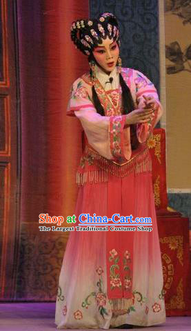 Chinese Cantonese Opera Xiaodan Garment Da Nao Mei Zhi Fu Costumes and Headdress Traditional Guangdong Opera Actress Apparels Young Lady Rosy Dress