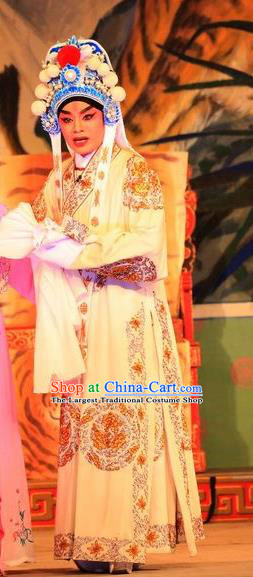 Xu Jiujing Chinese Guangdong Opera Martial Male Apparels Costumes and Headwear Traditional Cantonese Opera Wusheng Garment Swordsman Liu Yu Clothing