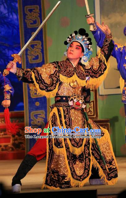 Xu Jiujing Chinese Guangdong Opera Martial Male Apparels Costumes and Headwear Traditional Cantonese Opera Wusheng Garment Soldier Clothing