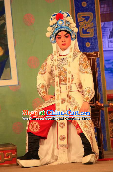 Xu Jiujing Chinese Guangdong Opera Martial Male Liu Yu Apparels Costumes and Headwear Traditional Cantonese Opera Wusheng Garment Swordsman Clothing