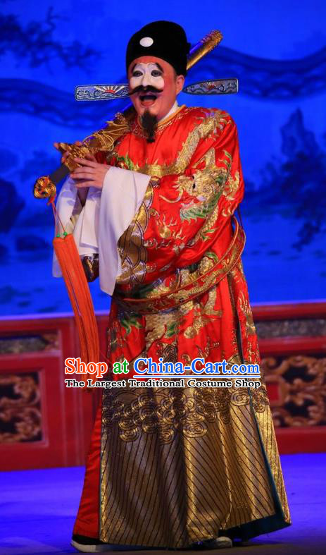 Xu Jiujing Chinese Guangdong Opera Official Apparels Costumes and Headwear Traditional Cantonese Opera Magistrate Garment Clown Clothing
