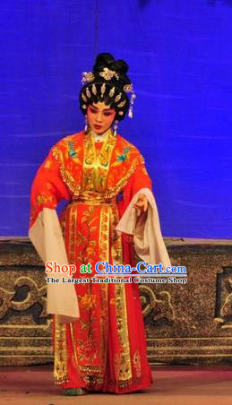 Chinese Cantonese Opera Young Beauty Garment Unhappy Marriage Costumes and Headdress Traditional Guangdong Opera Hua Tan Apparels Actress Dress