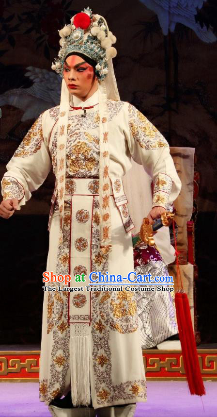 Xu Jiujing Chinese Guangdong Opera Martial Male Apparels Costumes and Headwear Traditional Cantonese Opera Wusheng Garment Liu Yu Clothing