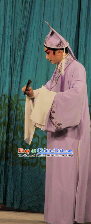Lou Tai Hui Chinese Guangdong Opera Xiaosheng Apparels Costumes and Headwear Traditional Cantonese Opera Young Male Garment Scholar Liang Shanbo Clothing