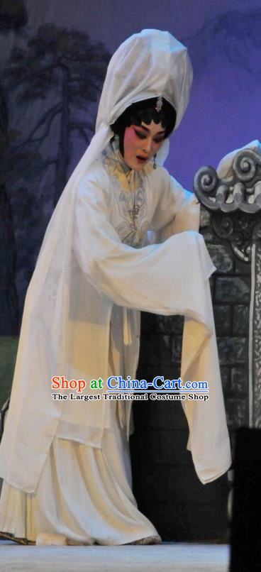Chinese Cantonese Opera Actress Zhu Yingtai Garment Lou Tai Hui Costumes and Headdress Traditional Guangdong Opera Young Female Apparels Distress Maiden Dress