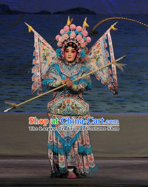 Chinese Cantonese Opera Female General Garment Fan Lihua Return Tang Costumes and Headdress Traditional Guangdong Opera Tao Ma Tan Apparels Dress with Flags