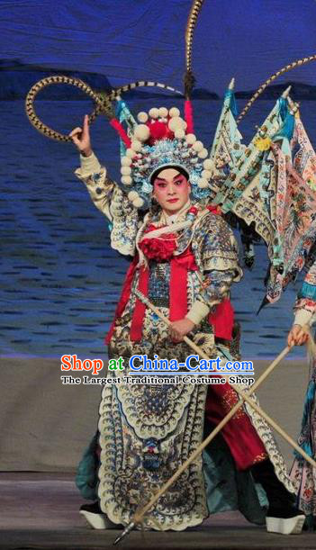 Fan Lihua Return Tang Chinese Guangdong Opera General Xue Dingshan Apparels Costumes and Headwear Traditional Cantonese Opera Shogun Garment Kao Clothing with Flags