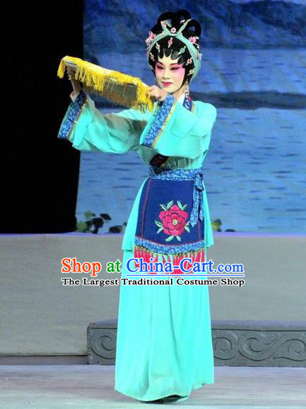 Chinese Cantonese Opera Village Girl Garment Luo Shui Qing Meng Costumes and Headdress Traditional Guangdong Opera Young Female Apparels Blue Dress