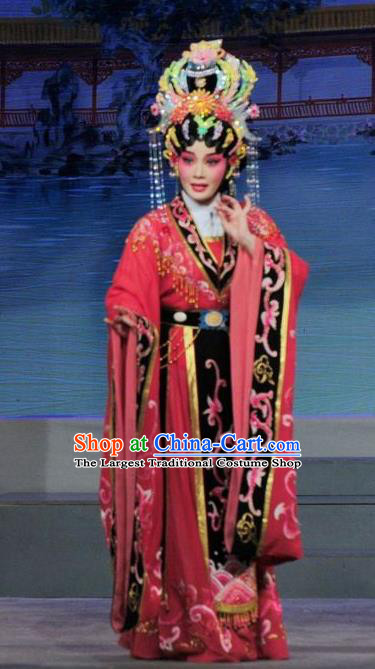 Chinese Cantonese Opera Young Female Garment Luo Shui Qing Meng Costumes and Headdress Traditional Guangdong Opera Queen Apparels Empress Dress