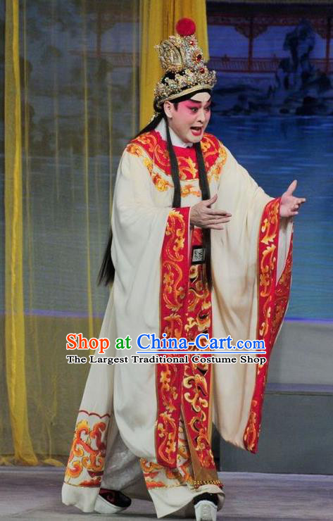Luo Shui Qing Meng Chinese Guangdong Opera Cao Zhi Apparels Costumes and Headwear Traditional Cantonese Opera Prince Garment Young Male Clothing