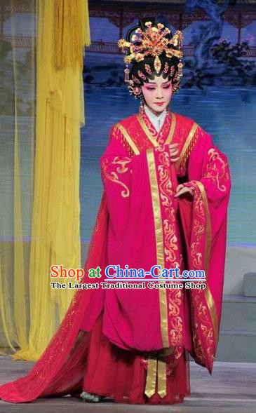 Chinese Cantonese Opera Queen Zhen Yuchan Garment Luo Shui Qing Meng Costumes and Headdress Traditional Guangdong Opera HuaTan Apparels Imperial Consort Dress