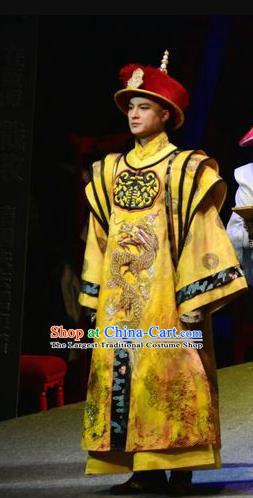 Chinese Traditional Qing Dynasty Monarch Apparels Costumes Historical Drama Jia Wu Ji Ancient Emperor Garment Guangxu Clothing and Headwear