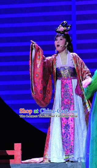 Chinese Historical Drama Lv Zhu Nv Chuan Qi Ancient Rich Concubine Garment Costumes Traditional Young Woman Dress Actress Apparels and Headdress