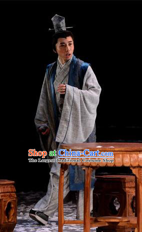 Chinese Traditional Song Dynasty Scholar Apparels Costumes Historical Drama Phoenix Hairpin Ancient Young Male Garment Poet Clothing and Headwear