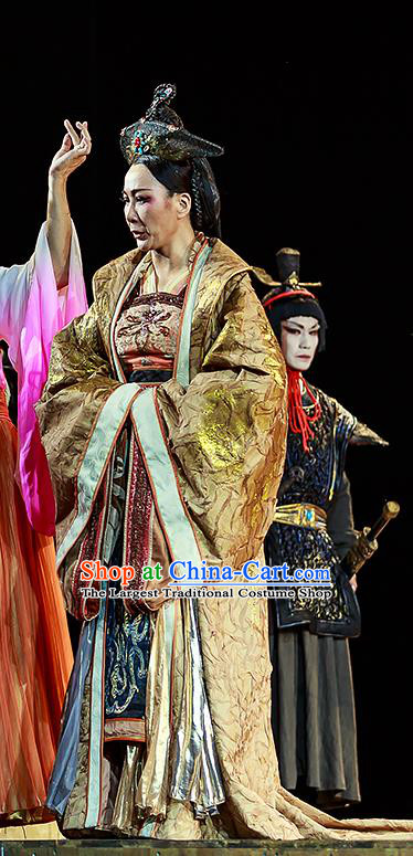 Chinese Historical Drama The Prince of Lanling Ancient Royal Empress Garment Costumes Traditional Stage Show Actress Dress Queen Qi Apparels and Headdress