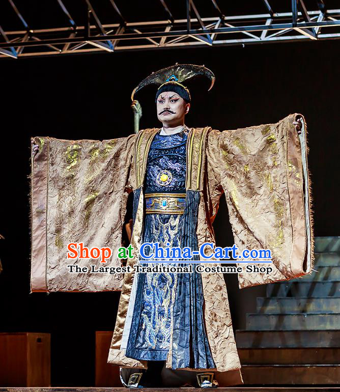Chinese Traditional Stage Performance King Qi Apparels Costumes Historical Drama The Prince of Lanling Ancient Monarch Garment Elderly Male Clothing and Headwear