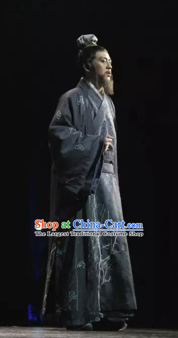 Chinese Traditional Stage Performance Elderly Male Apparels Costumes Historical Drama Da Song Yu Shi Ancient Song Dynasty Official Garment Zhao Bian Clothing and Headwear