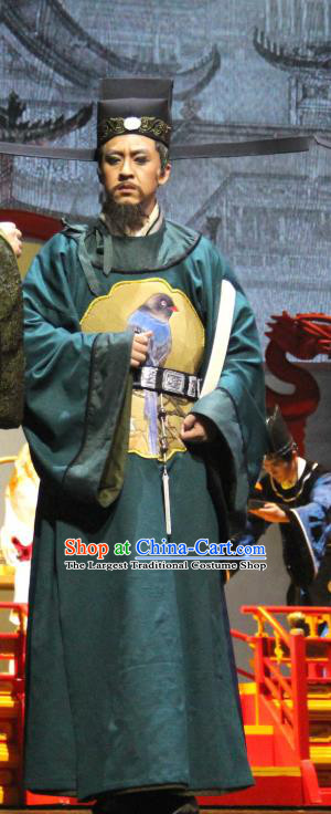 Chinese Traditional Stage Performance Elderly Male Apparels Costumes Historical Drama Da Song Yu Shi Ancient Official Garment Song Dynasty Censor Zhao Bian Clothing and Headwear