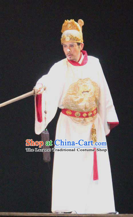 Chinese Traditional Stage Performance Monarch Apparels Costumes Historical Drama Da Song Yu Shi Ancient Emperor Garment Song Dynasty Zhenzong Zhaoheng Clothing and Headwear