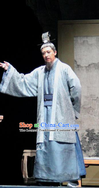 Chinese Traditional Stage Performance Historical Drama Da Song Yu Shi Apparels Costumes Ancient Minister Garment Song Dynasty Censor Zhao Bian Clothing and Headwear
