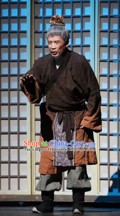 Chinese Traditional Stage Performance Historical Drama Da Song Yu Shi Apparels Costumes Ancient Elderly Servant Garment Song Dynasty Old Male Clothing and Headwear