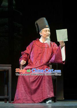 Chinese Traditional Ming Dynasty Official Xu Jie Clothing Stage Performance Historical Drama Apparels Elderly Male Costumes Ancient Minister Garment and Headwear