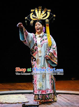 Chinese Historical Drama Ancient Empress Dowager Garment Costumes Traditional Stage Show Cixi Dress Qing Dynasty Queen Mother Apparels and Headpieces
