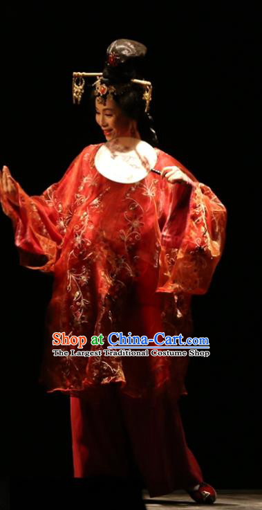 Chinese Historical Drama King of Nanyue Ancient Young Beauty Garment Costumes Traditional Stage Show Red Dress Qin Dynasty Noble Concubine Apparels and Headpieces