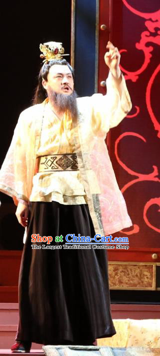 Chinese Traditional Han Dynasty Lord Zhao Tuo Clothing Stage Performance Historical Drama King of Nanyue Apparels Costumes Ancient Duke Garment and Headwear