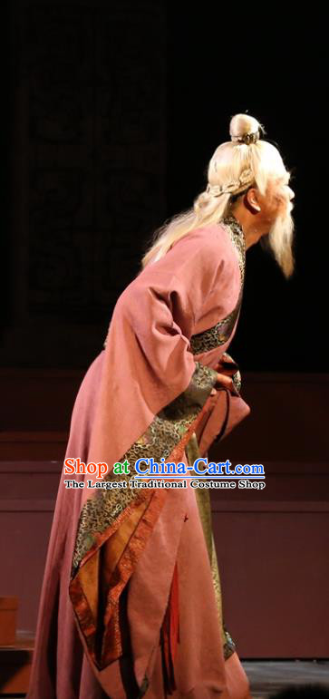 Chinese Traditional Han Dynasty Envoy Lu Jia Clothing Stage Performance Historical Drama King of Nanyue Elderly Male Apparels Costumes Ancient Official Garment and Headwear