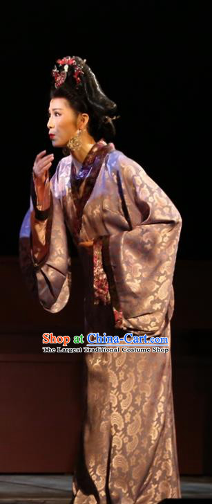 Chinese Historical Drama King of Nanyue Ancient Noble Concubine Garment Costumes Traditional Stage Show Rani Dress Han Dynasty Countess Apparels and Headpieces