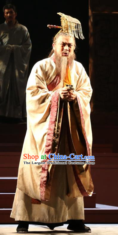 Chinese Traditional Han Dynasty Duke Clothing Stage Performance Historical Drama King of Nanyue Elderly Male Apparels Costumes Ancient Lord Zhao Tuo Garment and Headwear