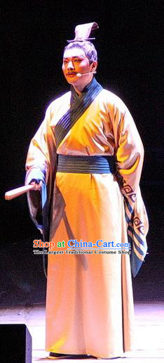 Chinese Traditional Three Kingdoms Period Official Clothing Stage Performance Historical Drama Ballast Stone Apparels Costumes Ancient Scholar Lu Ji Garment and Headwear