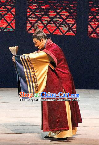 Chinese Traditional Three Kingdoms Period Minister Clothing Stage Performance Historical Drama Ballast Stone Apparels Costumes Ancient Official Garment and Headwear