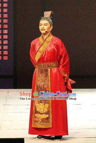 Chinese Traditional Three Kingdoms Period Minister Lu Ji Clothing Stage Performance Historical Drama Ballast Stone Apparels Costumes Ancient Official Prefecture Garment and Headwear